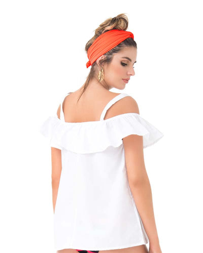 WHITE COLD SHOULDER BLOUSE PHAX PF11610056-100