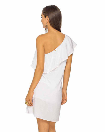 WHITE ASYMMETRIC RUFFLE DRESS PHAX PF11810329-100