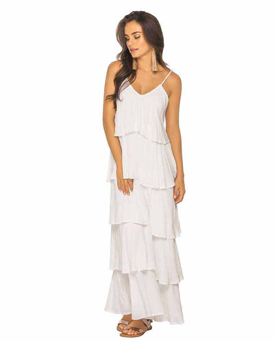 WHITE RUFFLE MAXI DRESS PHAX PF11810336-100