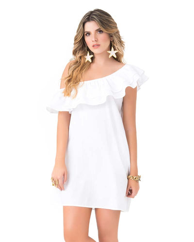 WHITE RUFFLE OFF SHOULDER DRESS PHAX PF11810341-100