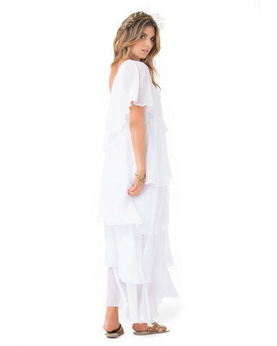 WHITE ONE SHOULDER RUFFLE MAXI DRESS PHAX PF11810345-100