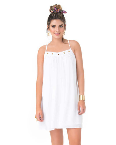 WHITE GROMMET SHORT DRESS PHAX PF11810348-100