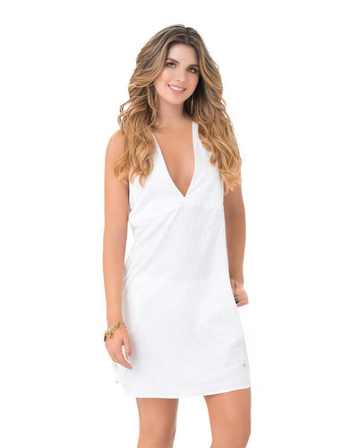 WHITE V NECK DRESS PHAX PF11810351-100