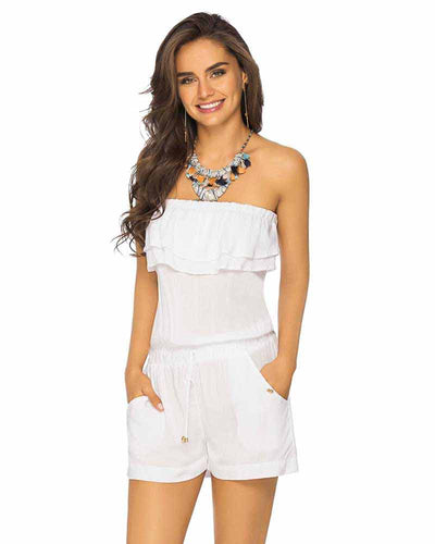 WHITE COLOR MIX STRAPLESS RUFFLE ROMPER PHAX PF16840002-100