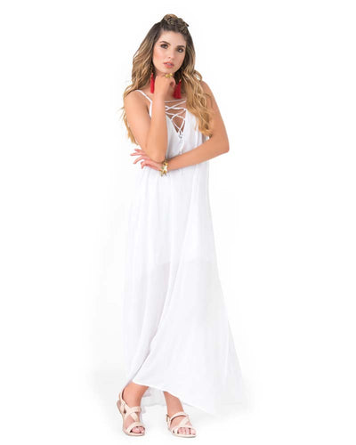 WHITE LACE UP MAXI DRESS PHAX PF16810004-100