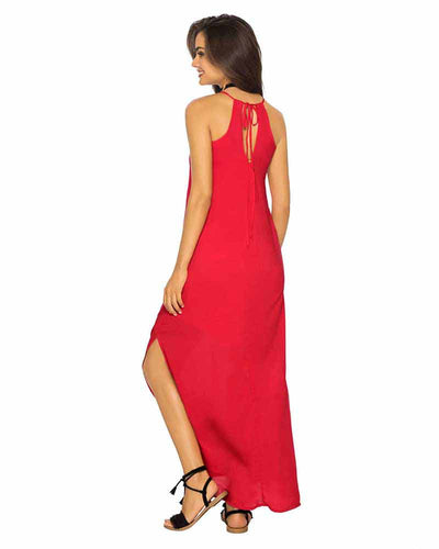 RED COLOR MIX LONG DRESS PHAX PF16810004-610