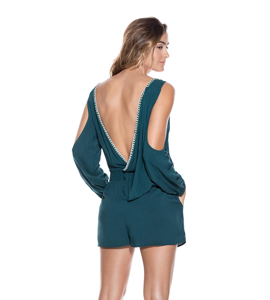 TEAL RAYON PLAYSUIT ONDADEMAR PLS026-SOLID