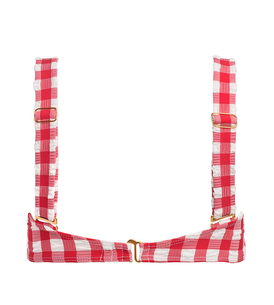 RED GINGHAM BUSTIER BIKINI TOP BY MONTCE