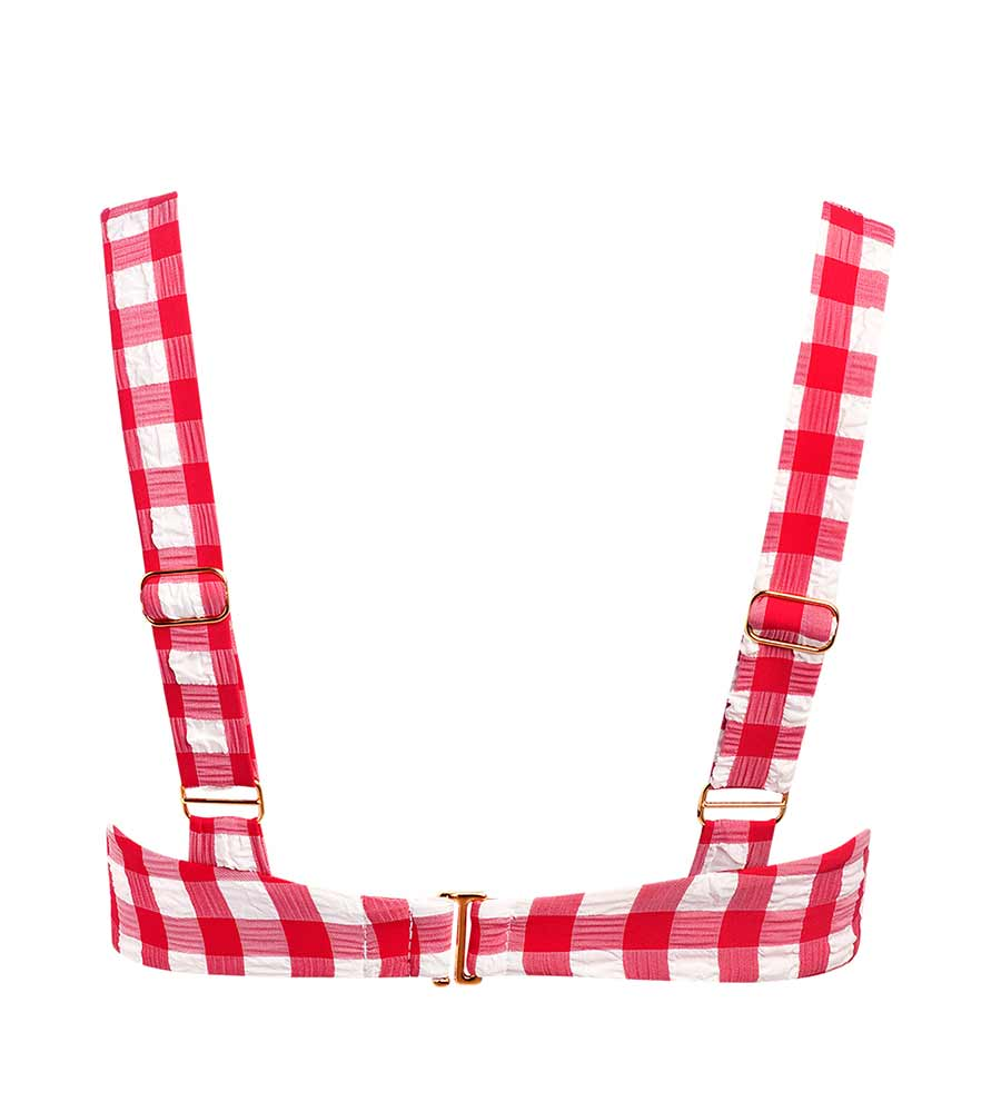 RED GINGHAM KAYLA BIKINI TOP BY MONTCE