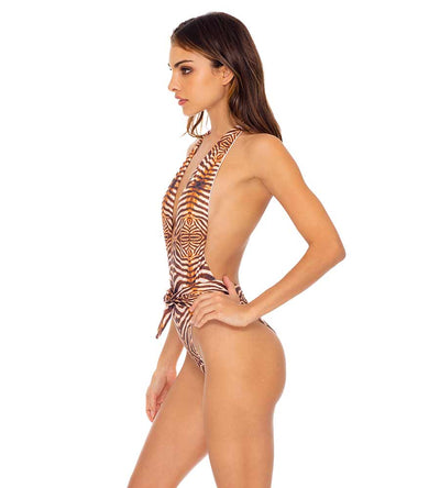 SAFARI DREAMS RUCHED ONE PIECE BODYSUIT LULI FAMA L649L14-007