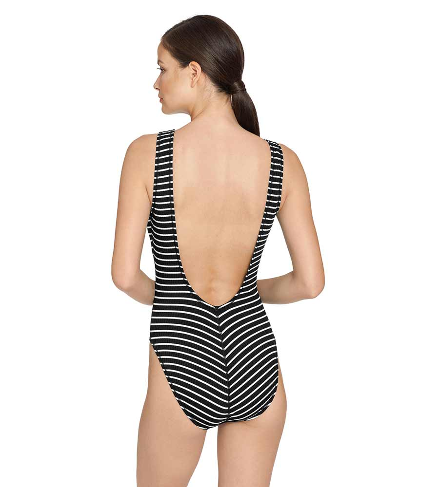 SAILOR STRIPE LACE UP ONE PIECE ROBIN PICCONE 203418-B/W
