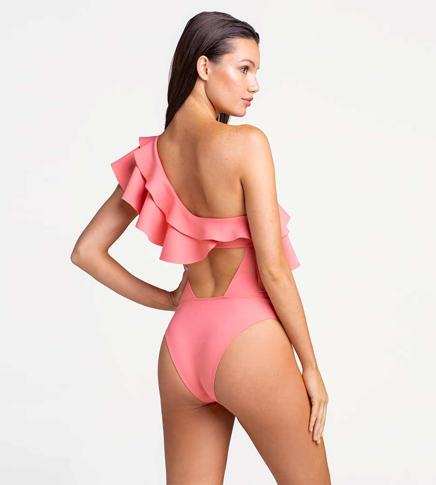 SALMON ROSE RUFFLE ONE PIECE TOUCHE 0E04001