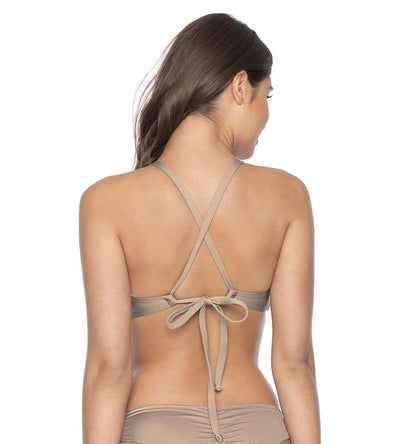 SANDSTONE COLOR BLOCK KNOT HALTER TOP PILYQ SND-363H