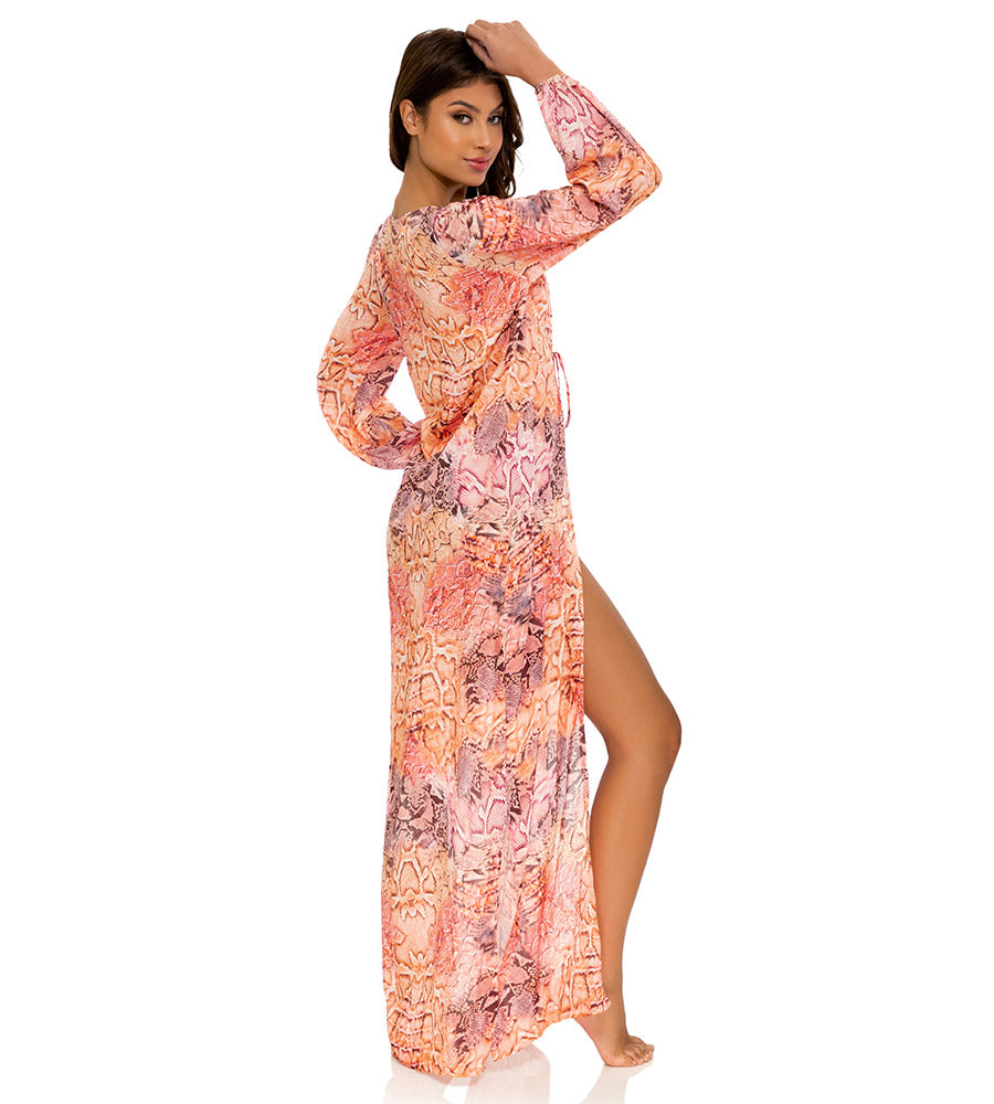 SKINS CORAL OPEN FRONT LONG TUNIC BY LULI FAMA