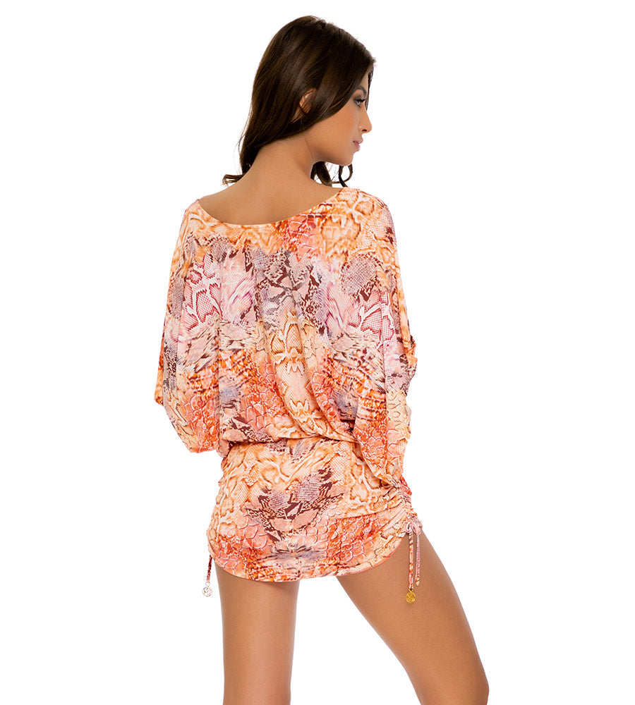 SKINS CORAL SOUTH BEACH DRESS BY LULI FAMA