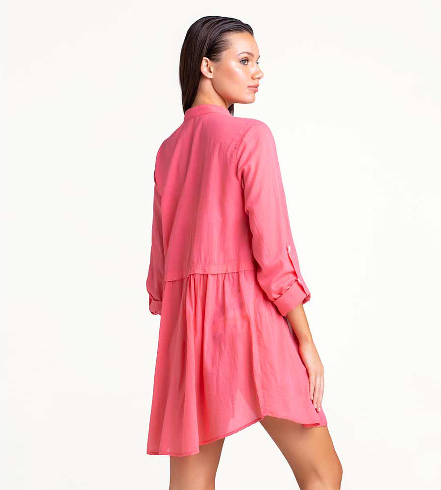 SUN KISSED CORAL SHORT BUTTON DRESS TOUCHE 0F42001