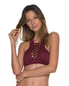 AWE FISHBONE MERLOT HIGH NECK TOP MALAI T00325