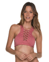 AWE FISHBONE ROSE HIGH NECK TOP MALAI T00326