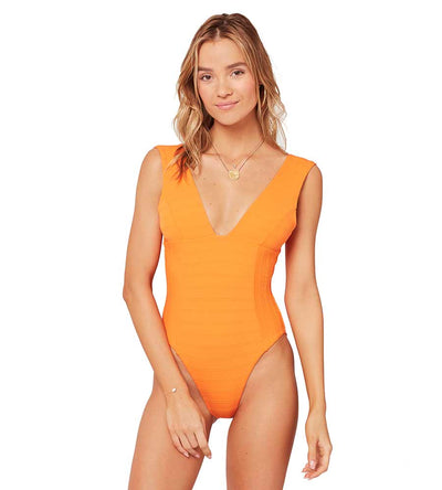 TANGERINE CLEAR WATER TEXTURE SUNSCAPE ONE PIECE LSPACE CLSSMC19-TNG