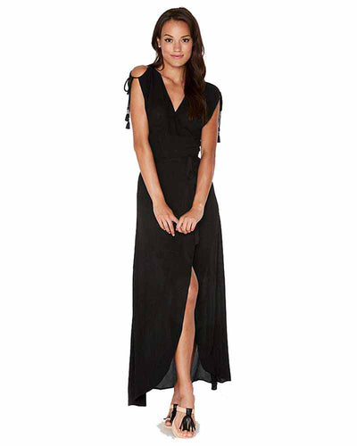 BLACK WRAPPER DRESS LSPACE THWDR18-BLK