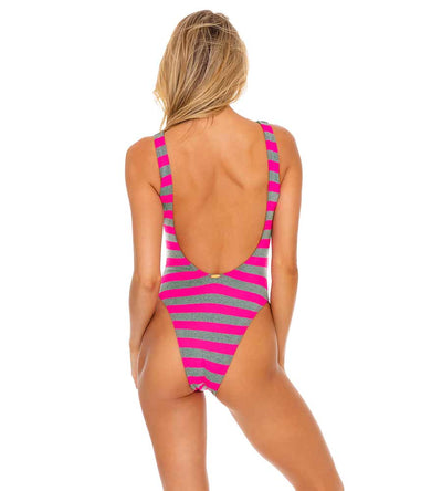 TIME TO FIESTA NEON PINK TANK OPEN ONE PIECE BODYSUIT LULI FAMA L643L16-008