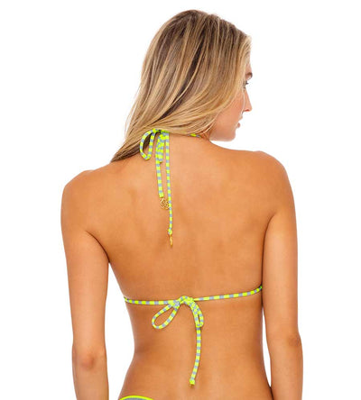 TIME TO FIESTA NEON YELLOW SEAMLESS TRIANGLE TOP LULI FAMA L643N97-025