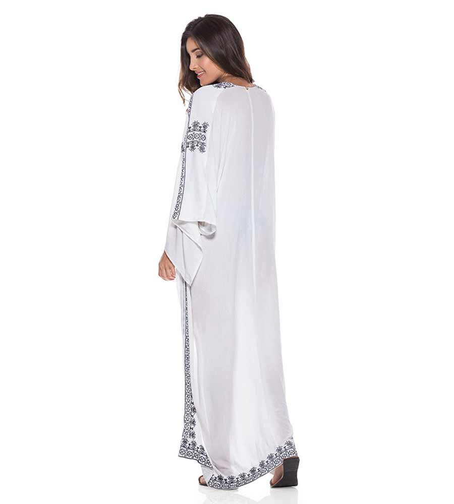 WHITE VISCOSE KAFTAN ONDADEMAR TKA026-SOLID
