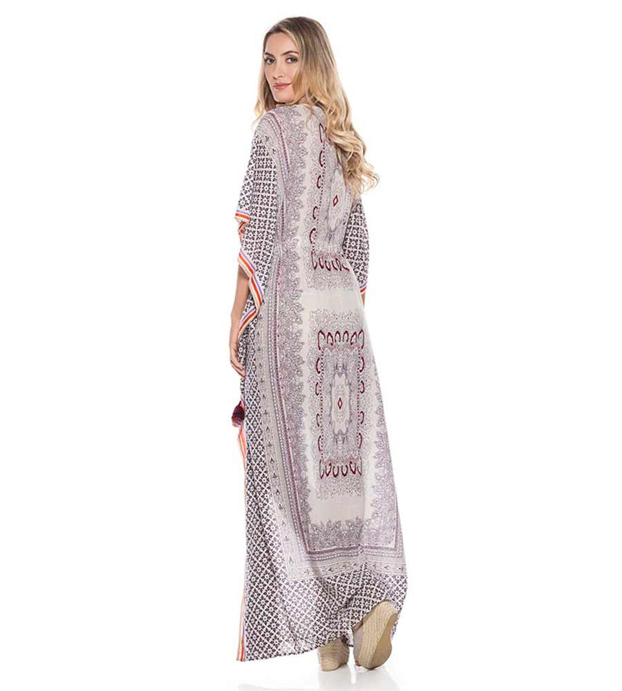 PRINTED COTTON KAFTAN ONDADEMAR TKA027-SOLID