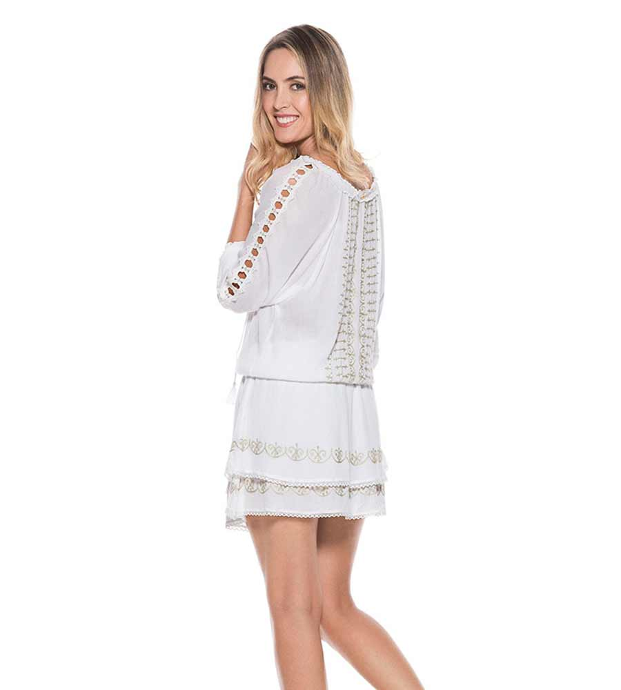 WHITE CRINKLED RAYON DRESS ONDADEMAR VEC068-WHTS