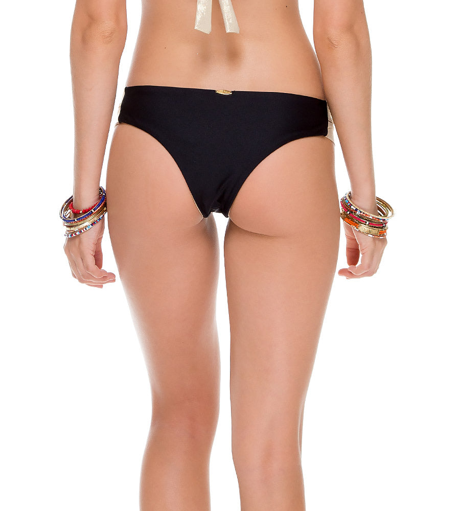 WARRIOR SPIRIT BLACK SPLIT BAND SKIMPY BOTTOM BY LULI FAMA