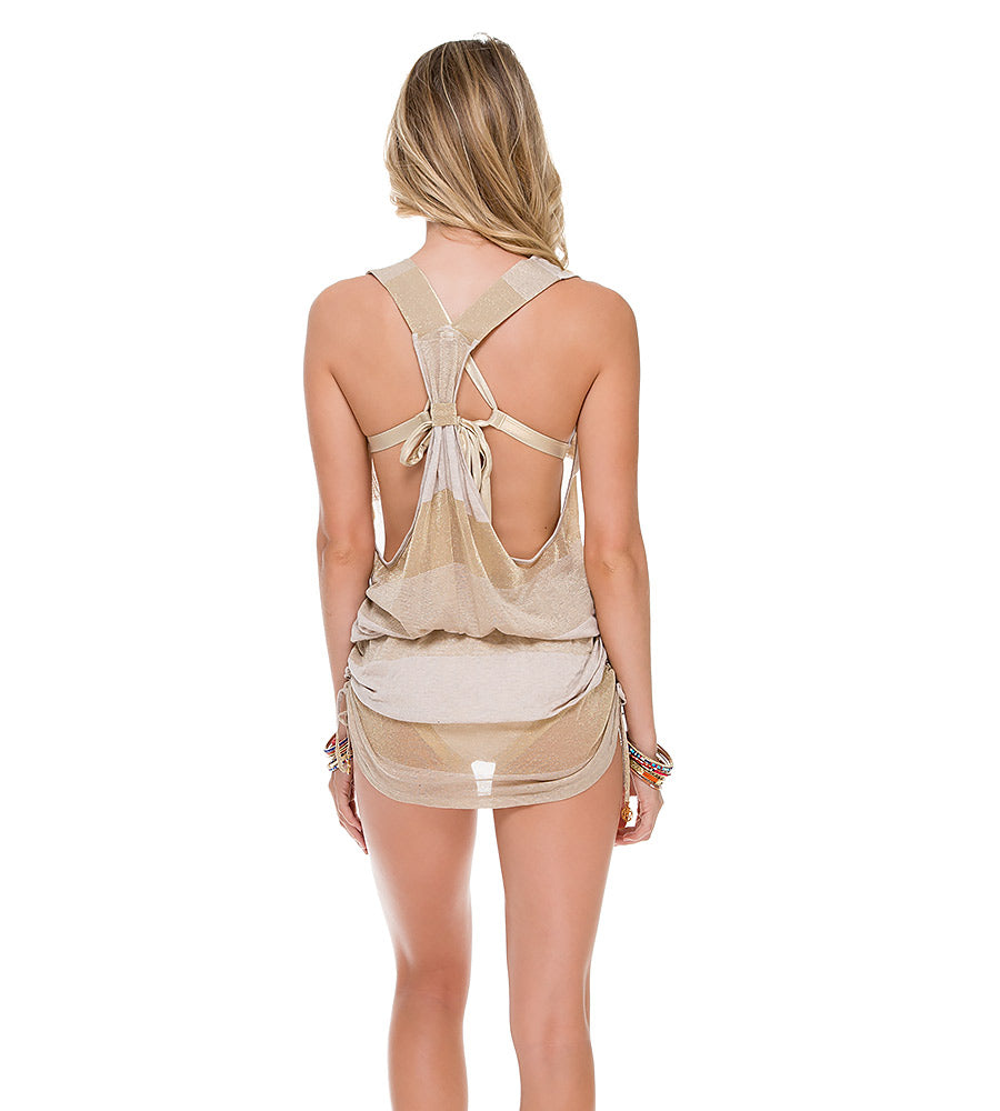 WARRIOR SPIRIT SAND T-BACK MINI DRESS BY LULI FAMA
