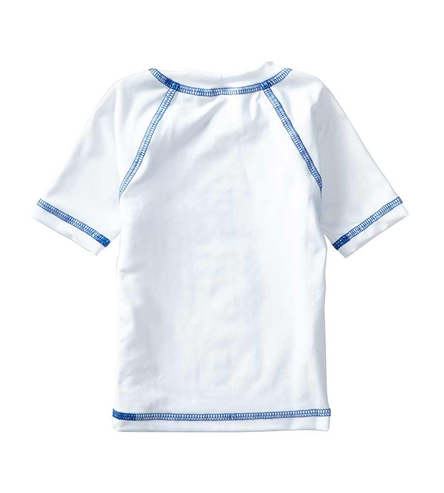 WHITE SHORT SLEEVE SURFER RASHGUARD AZUL 7006-W