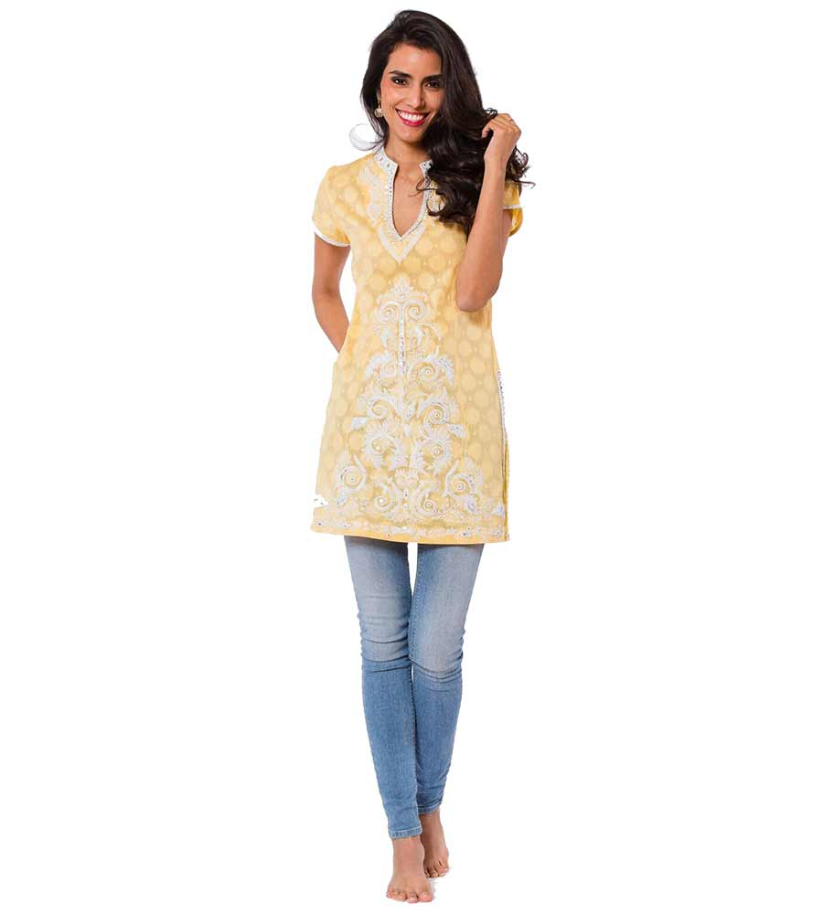 YELLOW MONET LONG TUNIC SULU MONET1