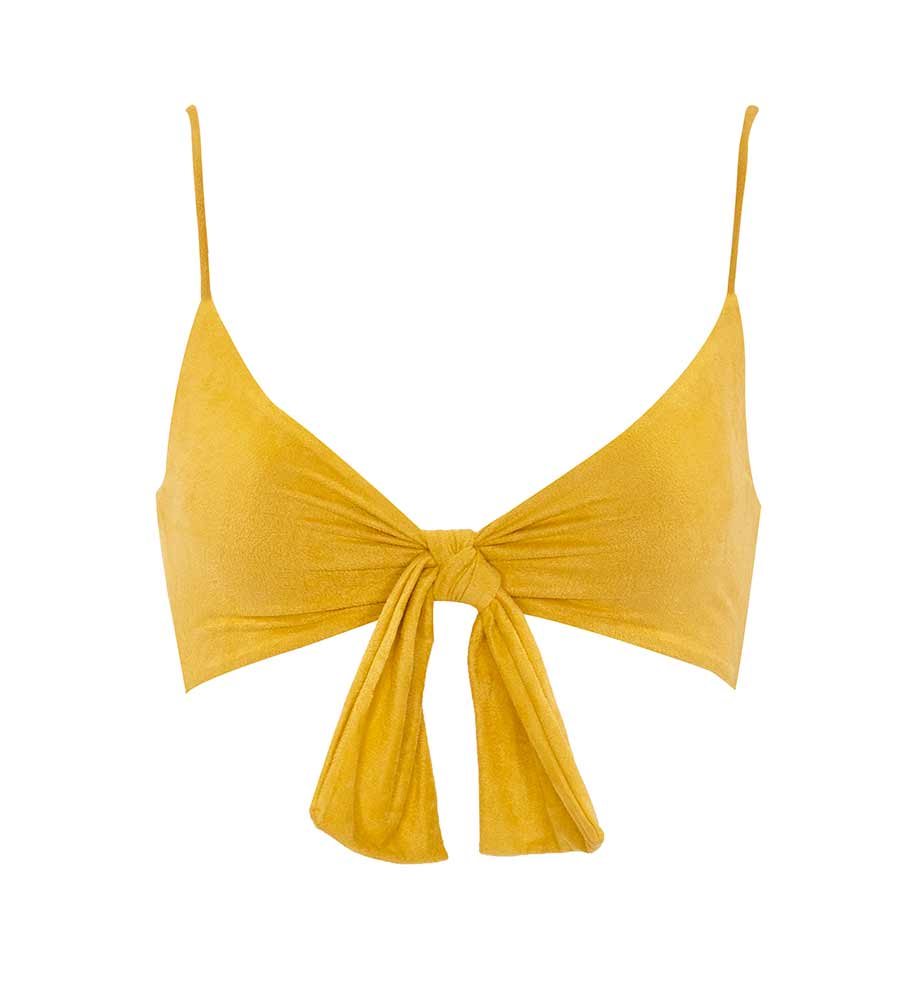 YELLOW SUEDE START ME UP TOP BY MONICA HANSEN