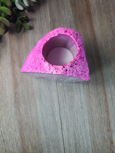 Pink Geode Candle Holder