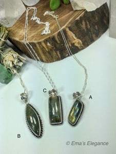 Long Labradorite Pendants