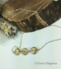 Load image into Gallery viewer, Smoky or Citrine Three Stone Necklace