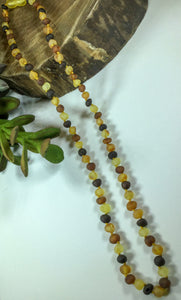 Raw Multi Round Baltic Amber Necklace