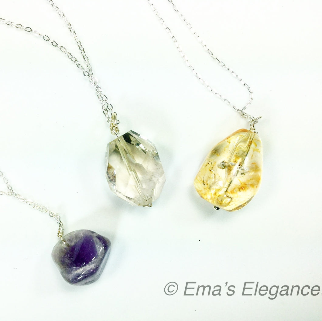 Three Small Pendants, Amethyst, Citrine, Quartz