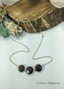 Smoky or Citrine Three Stone Necklace