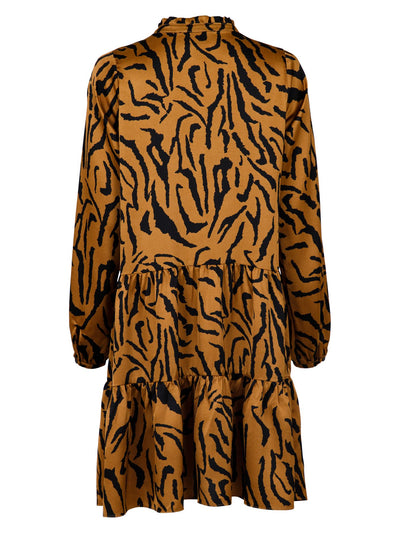 Neo Noir - Federica Satin Zebra Dress Brown