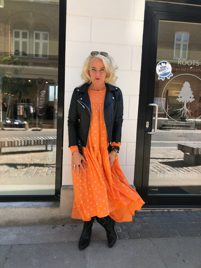 Black Colour - Lex Dress Orange Dots