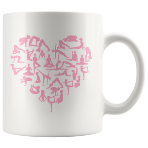 Yoga Pose Pink Heart Mug