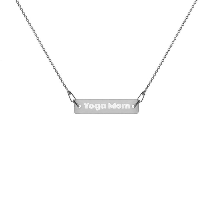 Engraved Yoga Mom Bar Chain Necklace
