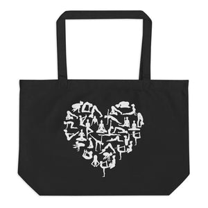 Organic Cotton Yoga Pose Heart Tote Bag