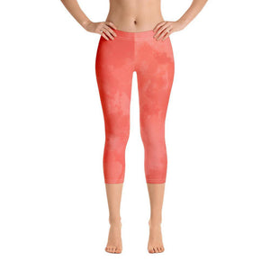 Coral Watercolor Leggings