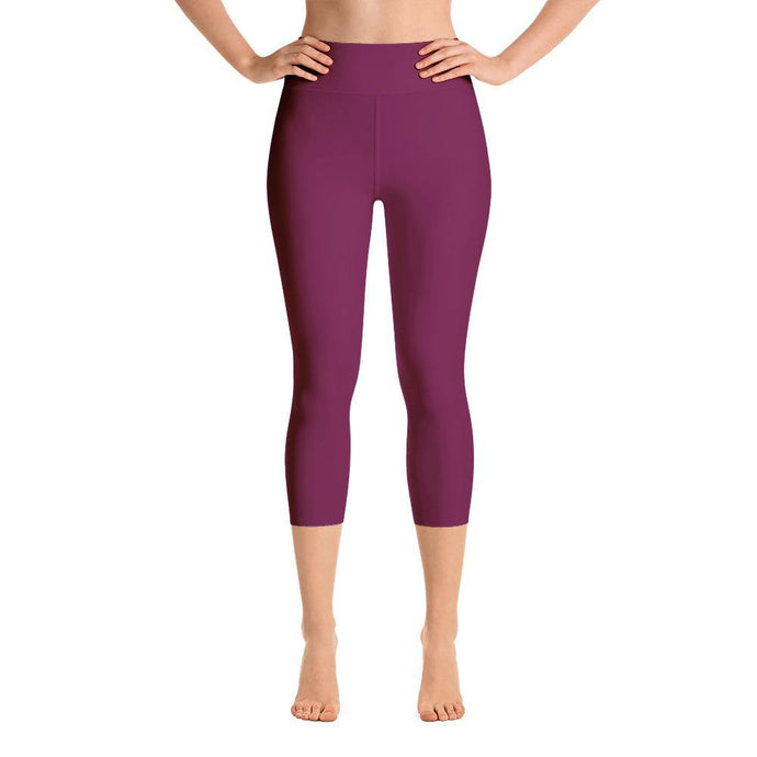 Capri Leggings with Pocket - Maroon