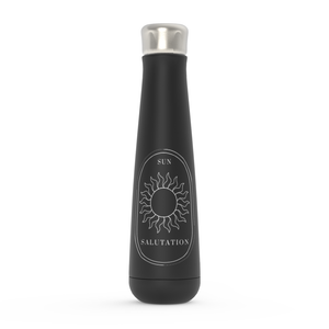 Sun Salutation White On Black Water Bottle