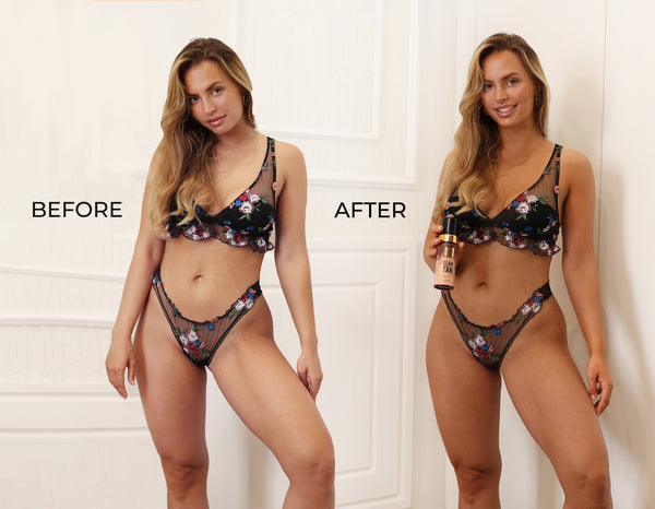 Before And After Results Self Tanning Body Mousse La Piel Glam Tan