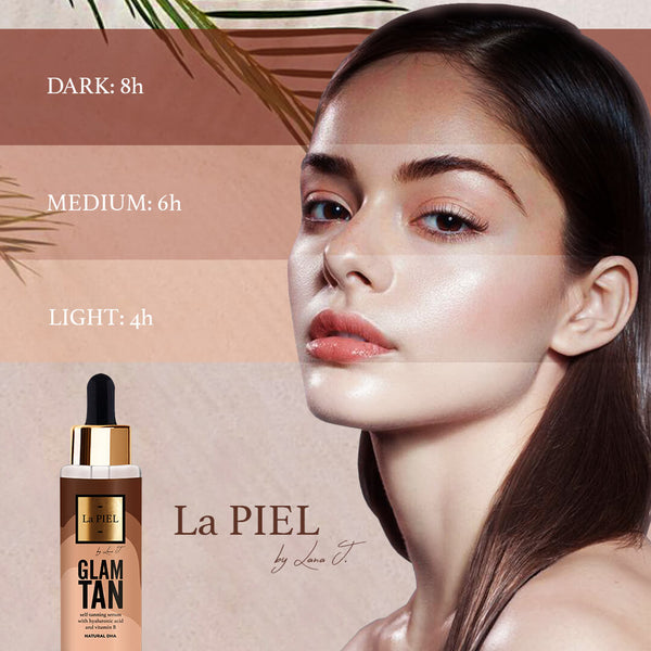 Self Tanning Hyaluronic Acid Face Serum With Dha And Vitamin B La Piel Glam Tan Natural Cosmetics